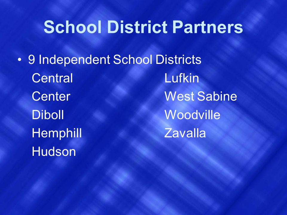 School District Partners 9 Independent School Districts Central Lufkin Center West Sabine Diboll Woodville Hemphill Zavalla Hudson