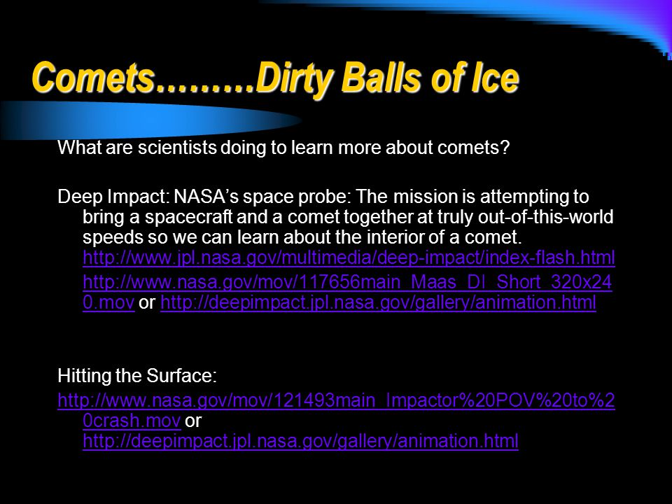 Comets………Dirty Balls of Ice What are scientists doing to learn more about comets.