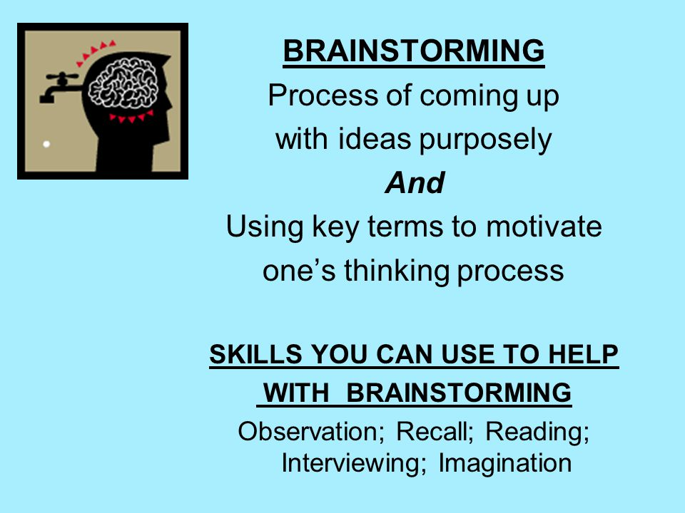 BRAINSTORMING Process of coming up with ideas purposely And Using key terms to motivate one's thinking process SKILLS YOU CAN USE TO HELP WITH BRAINSTORMING Observation; Recall; Reading; Interviewing; Imagination