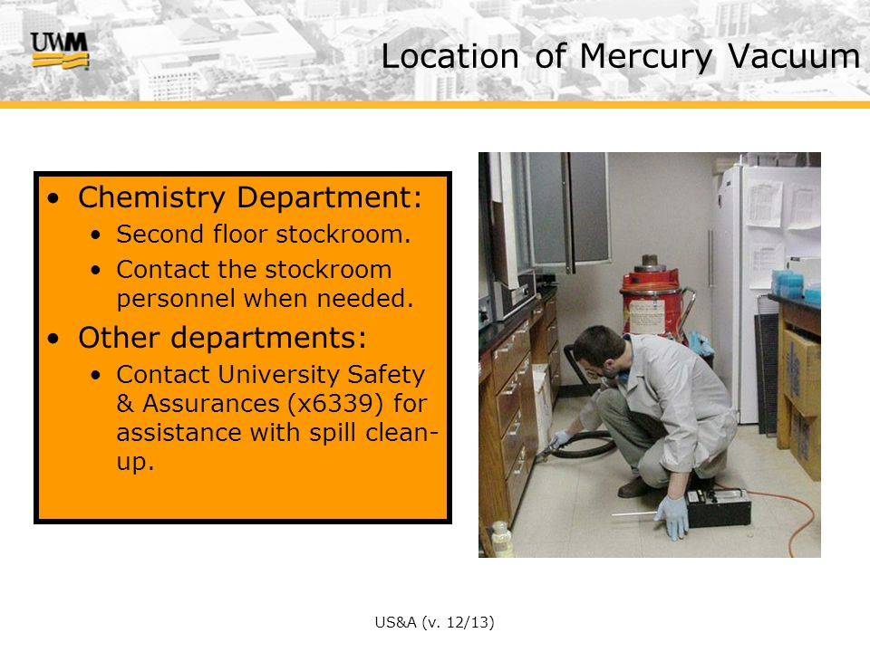 US&A (v.12/13) Chemistry Department: Second floor stockroom.