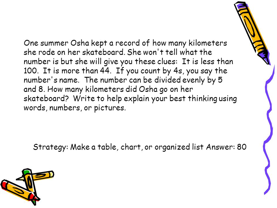 One summer Osha kept a record of how many kilometers she rode on her skateboard. She won't tell what the number is but she will give you these clues: