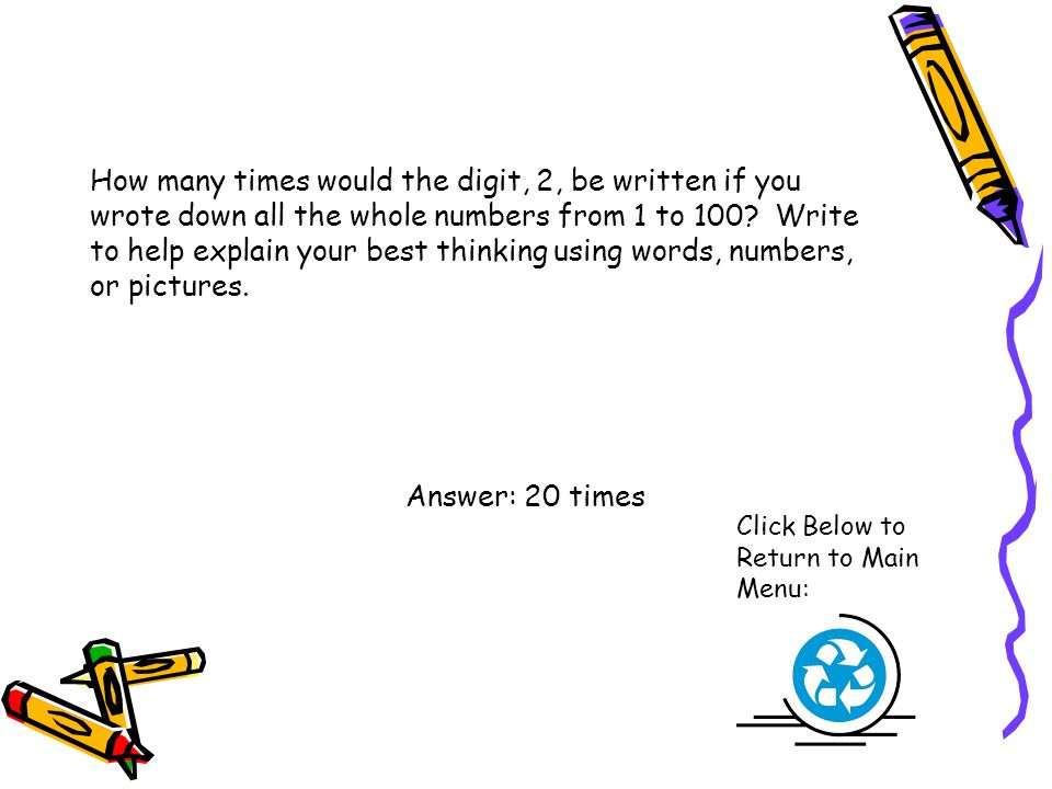 How many times would the digit, 2, be written if you wrote down all the whole numbers from 1 to 100? Write to help explain your best thinking using wo