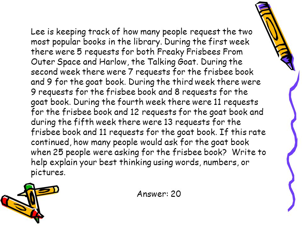Lee is keeping track of how many people request the two most popular books in the library. During the first week there were 5 requests for both Freaky