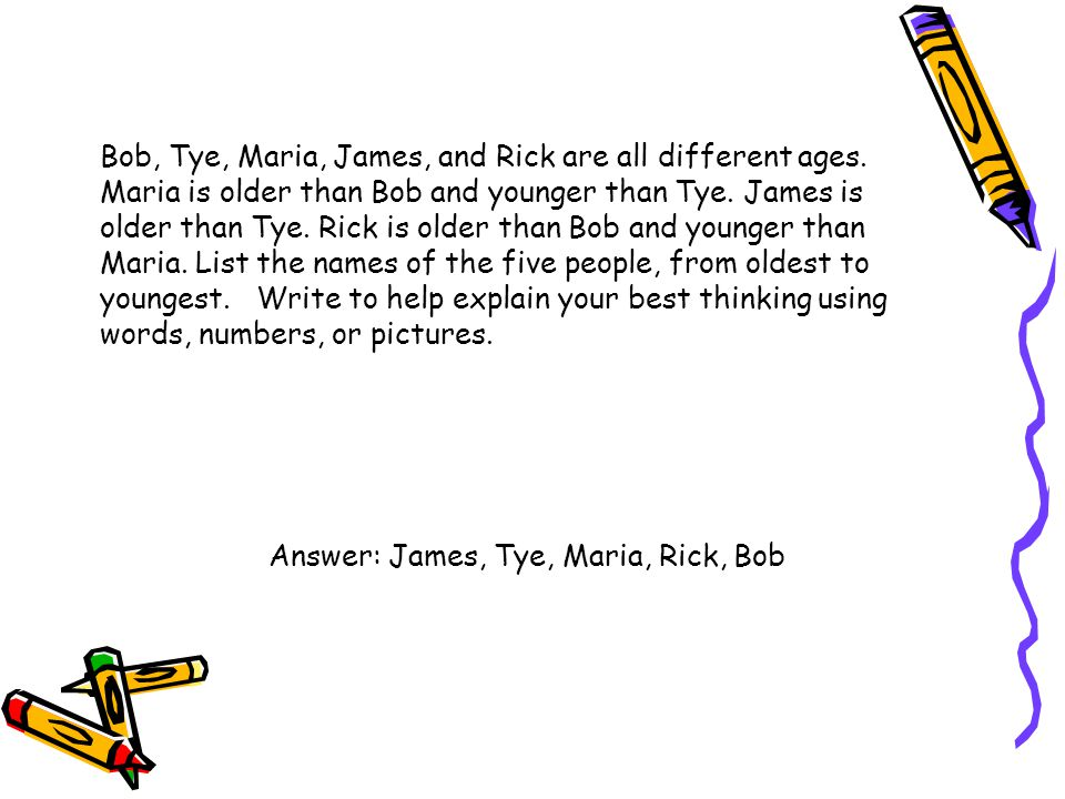 Bob, Tye, Maria, James, and Rick are all different ages. Maria is older than Bob and younger than Tye. James is older than Tye. Rick is older than Bob