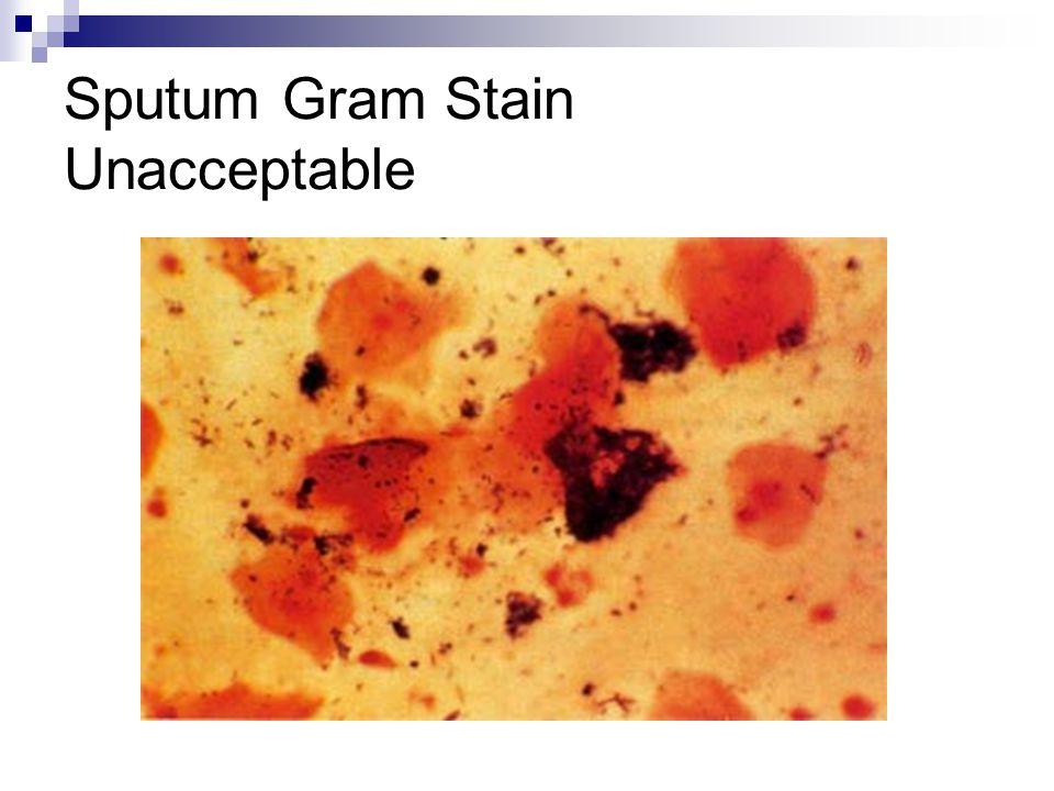 Sputum Gram Stain Unacceptable