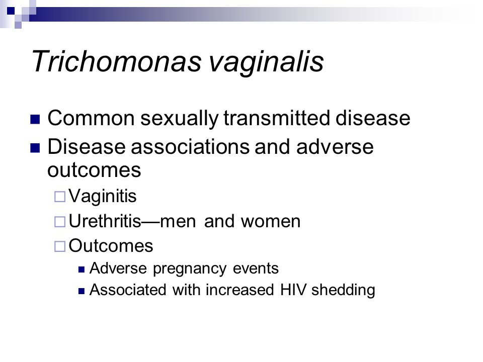 Trichomonas vaginalis Common sexually transmitted disease Disease associations and adverse outcomes  Vaginitis  Urethritis—men and women  Outcomes