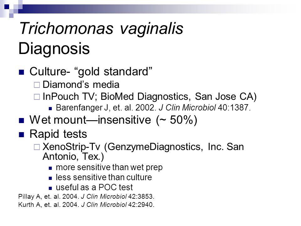 """Trichomonas vaginalis Diagnosis Culture- """"gold standard""""  Diamond's media  InPouch TV; BioMed Diagnostics, San Jose CA) Barenfanger J, et. al. 2002."""