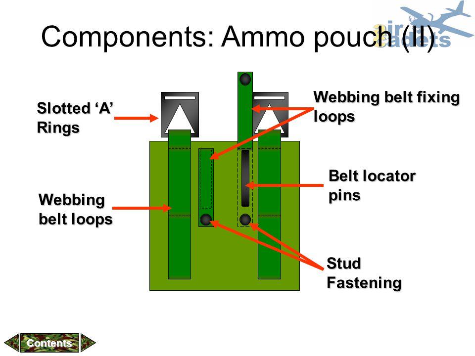 Components: Ammo pouch (II) Slotted 'A' Rings Webbing belt loops Belt locator pins Webbing belt fixing loops Stud fastenings Stud Fastening Contents