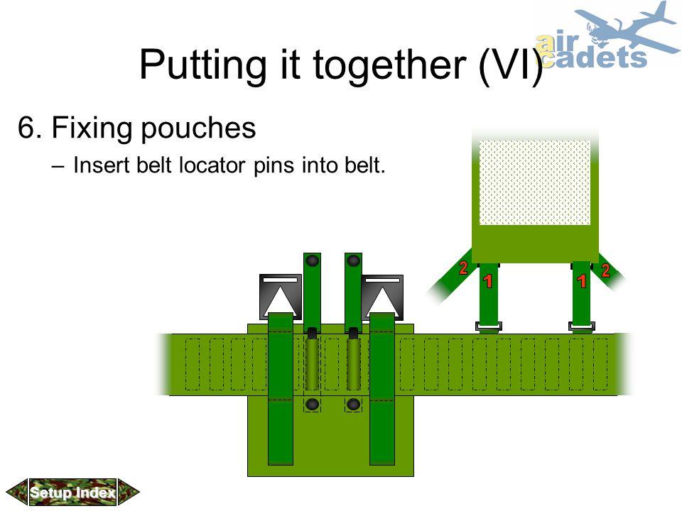 Putting it together (VI) 6. Fixing pouches –Insert belt locator pins into belt. Setup Index Setup Index