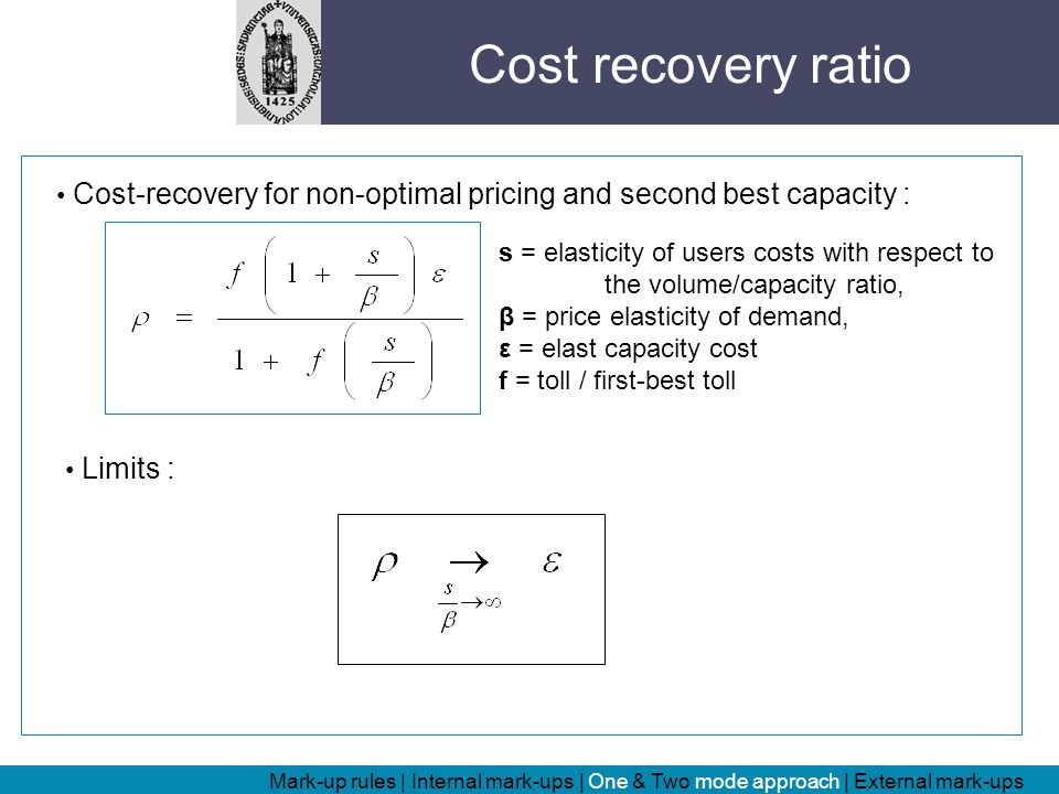 Cost-recovery for non-optimal pricing and second best capacity : s = elasticity of users costs with respect to the volume/capacity ratio, β = price elasticity of demand, ε = elast capacity cost f = toll / first-best toll Limits : Cost recovery ratio Mark-up rules | Internal mark-ups | One & Two mode approach | External mark-ups