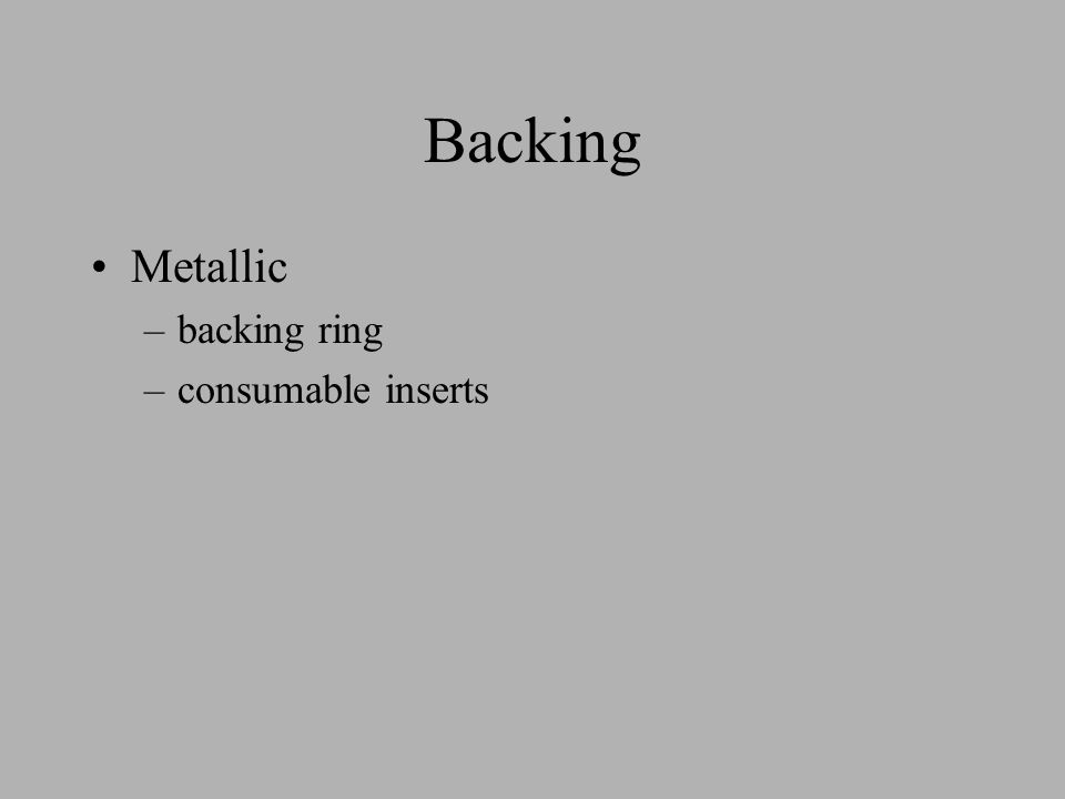 Backing Metallic –backing ring –consumable inserts