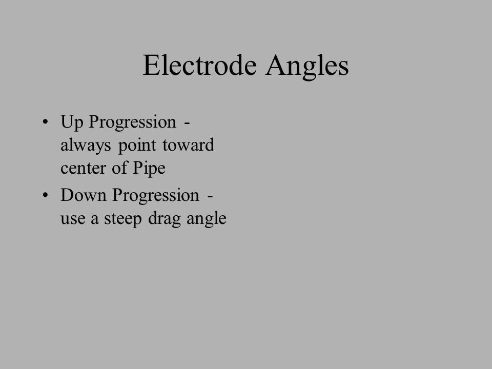 Electrode Angles Up Progression - always point toward center of Pipe Down Progression - use a steep drag angle