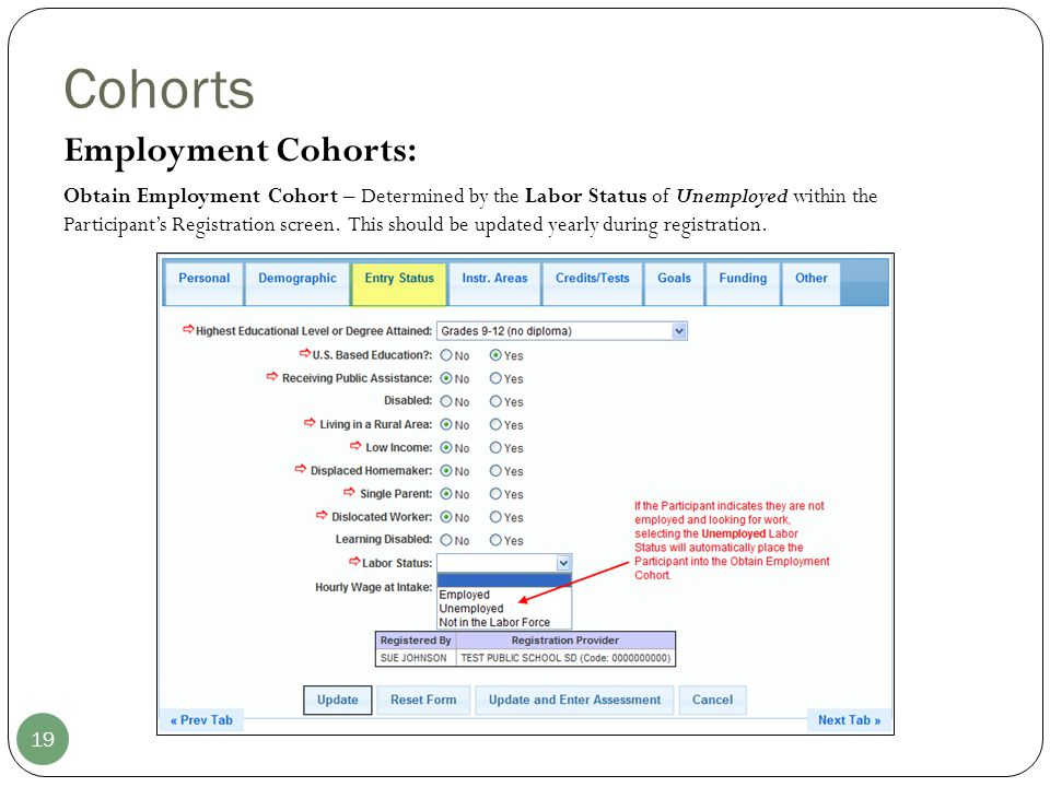 Cohorts 19 Employment Cohorts: Obtain Employment Cohort – Determined by the Labor Status of Unemployed within the Participant's Registration screen. T