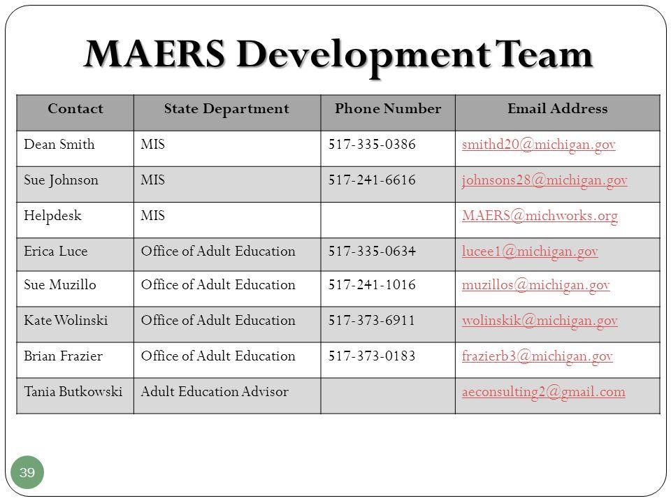39 MAERS Development Team wolinskik@michigan.gov ContactState DepartmentPhone NumberEmail Address Dean SmithMIS517-335-0386smithd20@michigan.gov Sue J