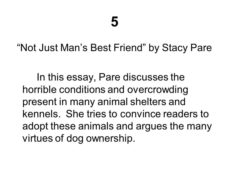 5 Not Just Man's Best Friend by Stacy Pare In this essay, Pare discusses the horrible conditions and overcrowding present in many animal shelters and kennels.