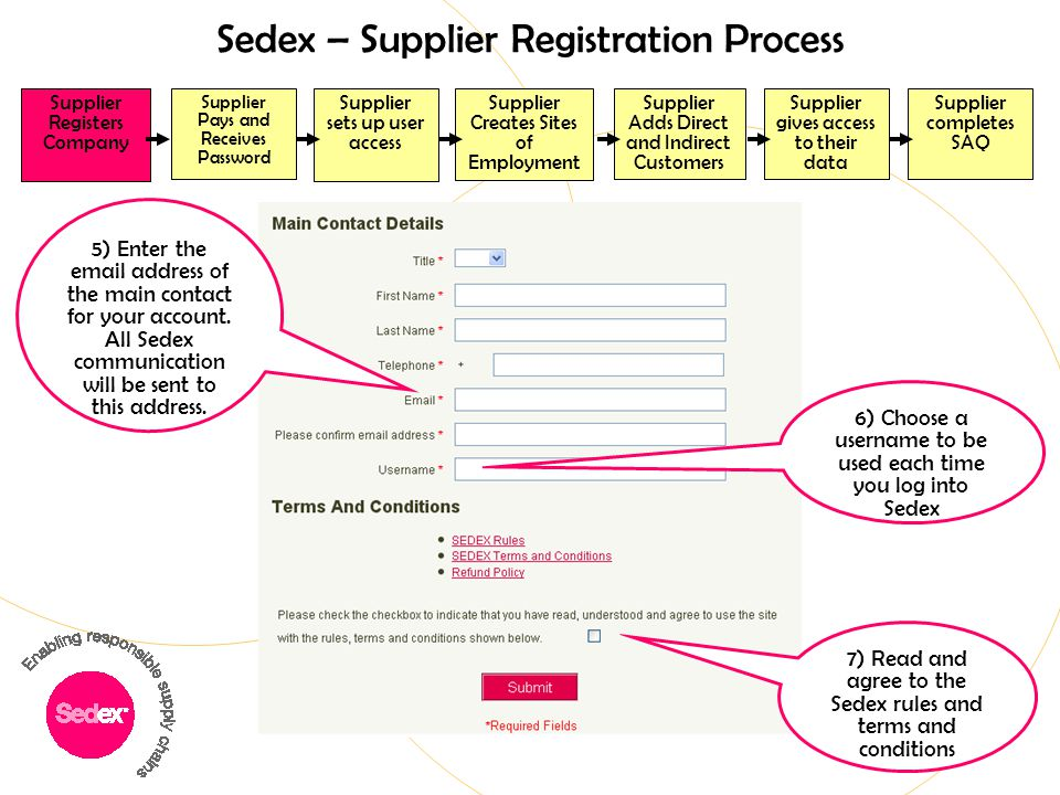Sedex – Supplier Registration Process Supplier Registers Company Supplier completes SAQ Supplier Adds Direct and Indirect Customers Supplier Creates S