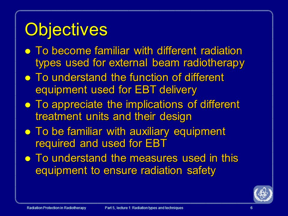 Radiation Protection in RadiotherapyPart 5, lecture 1: Radiation types and techniques27 Orthovoltage radiotherapy l 150 - 400kVp l Penetration sufficient for palliative treatment of bone lesions relatively close to the surface (ribs, spinal cord) l Largely replaced by other treatment modalities