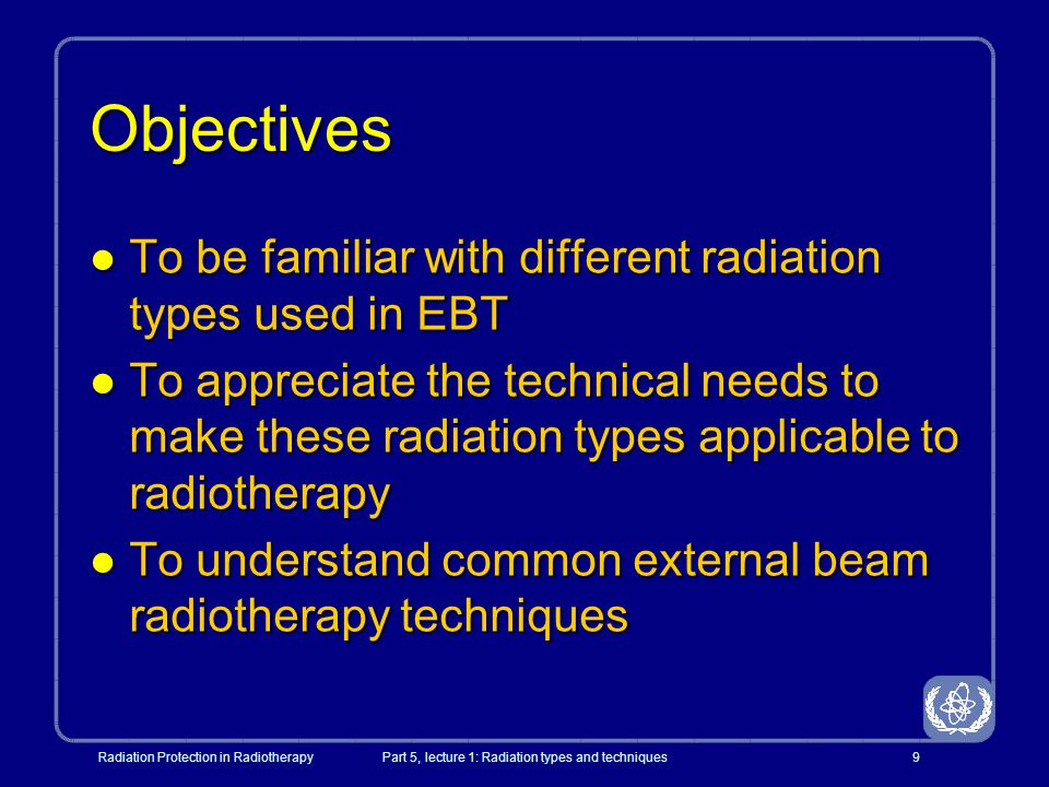 Radiation Protection in RadiotherapyPart 5, lecture 1: Radiation types and techniques50 Characteristics of an electron beam RpRp d max 50 0 10 20 30 40 60 70 80 90 100 0123456789101112 Depth (cm) %DD R 100 R 50 Surface dose Therapeutic range x-ray component