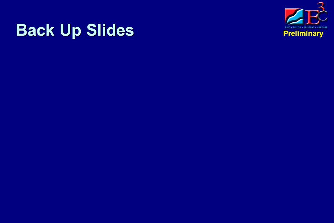 Preliminary Back Up Slides