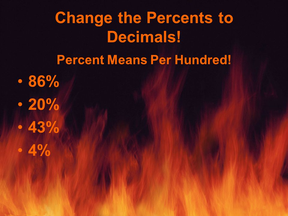 Change the Percents to Decimals! Percent Means Per Hundred! 86% 20% 43% 4%