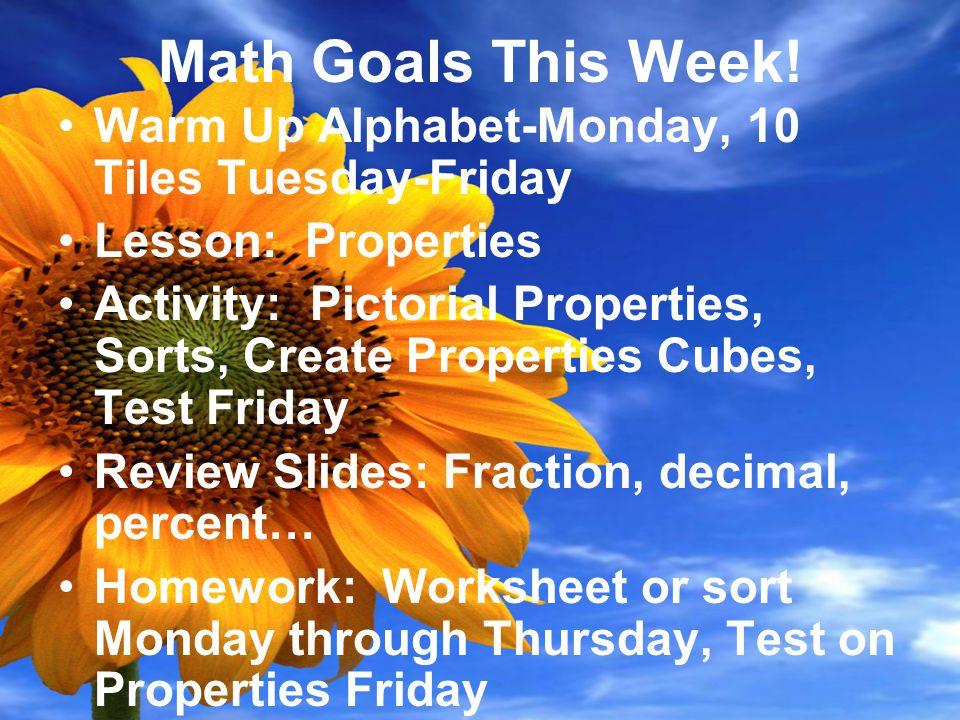 Math Goals This Week.