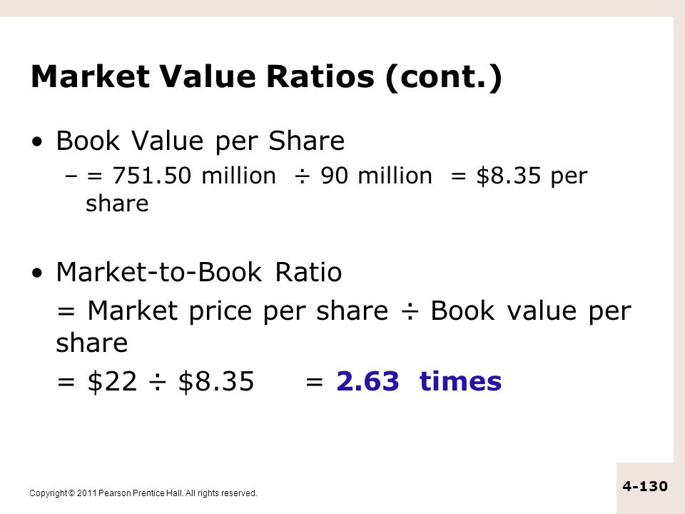 Copyright © 2011 Pearson Prentice Hall. All rights reserved. 4-130 Market Value Ratios (cont.) Book Value per Share –= 751.50 million ÷ 90 million = $