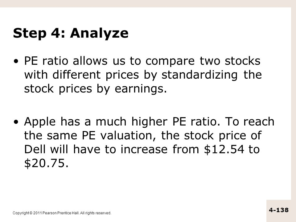 Copyright © 2011 Pearson Prentice Hall. All rights reserved. 4-138 Step 4: Analyze PE ratio allows us to compare two stocks with different prices by s