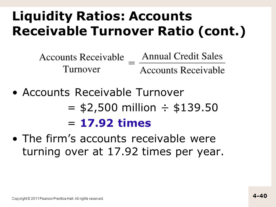Copyright © 2011 Pearson Prentice Hall. All rights reserved. 4-40 Liquidity Ratios: Accounts Receivable Turnover Ratio (cont.) Accounts Receivable Tur
