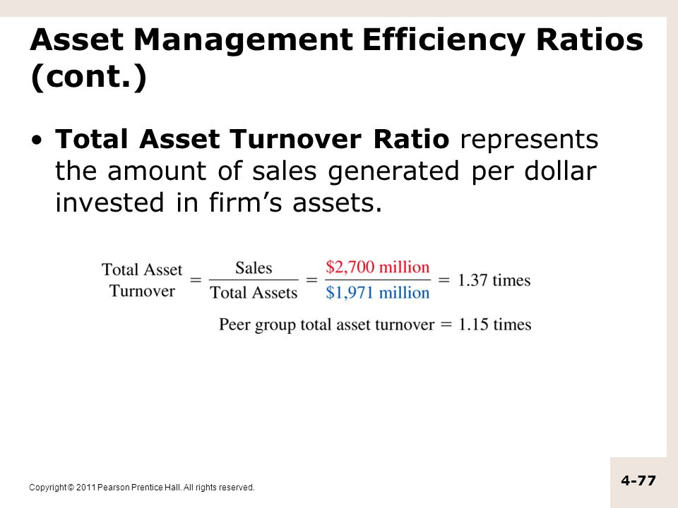 Copyright © 2011 Pearson Prentice Hall. All rights reserved. 4-77 Asset Management Efficiency Ratios (cont.) Total Asset Turnover Ratio represents the