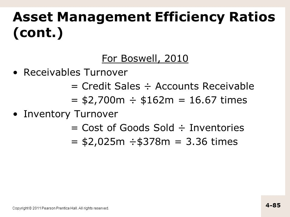 Copyright © 2011 Pearson Prentice Hall. All rights reserved. 4-85 Asset Management Efficiency Ratios (cont.) For Boswell, 2010 Receivables Turnover =