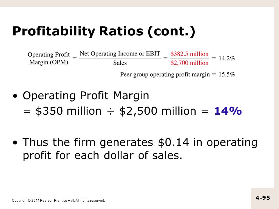Copyright © 2011 Pearson Prentice Hall. All rights reserved. 4-95 Profitability Ratios (cont.) Operating Profit Margin = $350 million ÷ $2,500 million