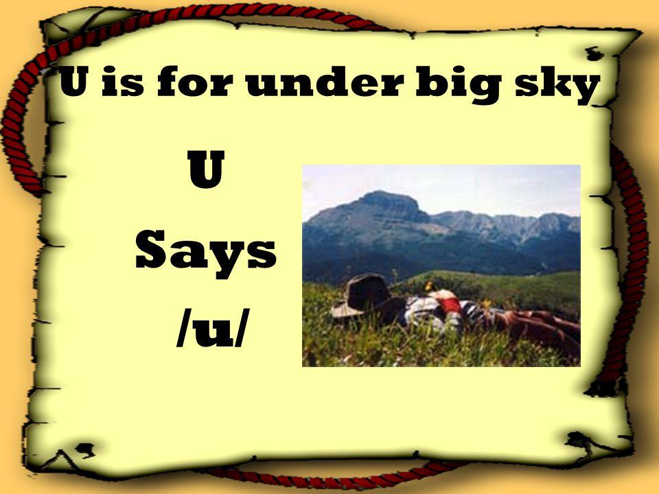 U is for under big sky U Says /u/