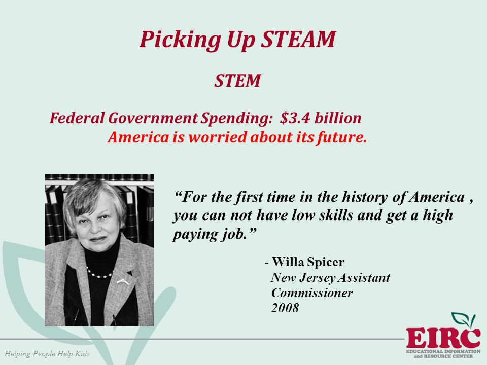 Helping People Help Kids Picking Up STEAM STEM Federal Government Spending: $3.4 billion America is worried about its future.