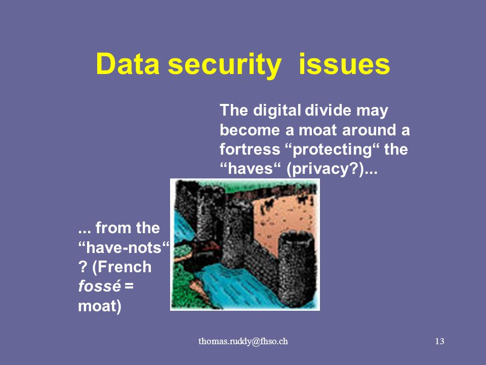 thomas.ruddy@fhso.ch13 Data security issues The digital divide may become a moat around a fortress protecting the haves (privacy )......