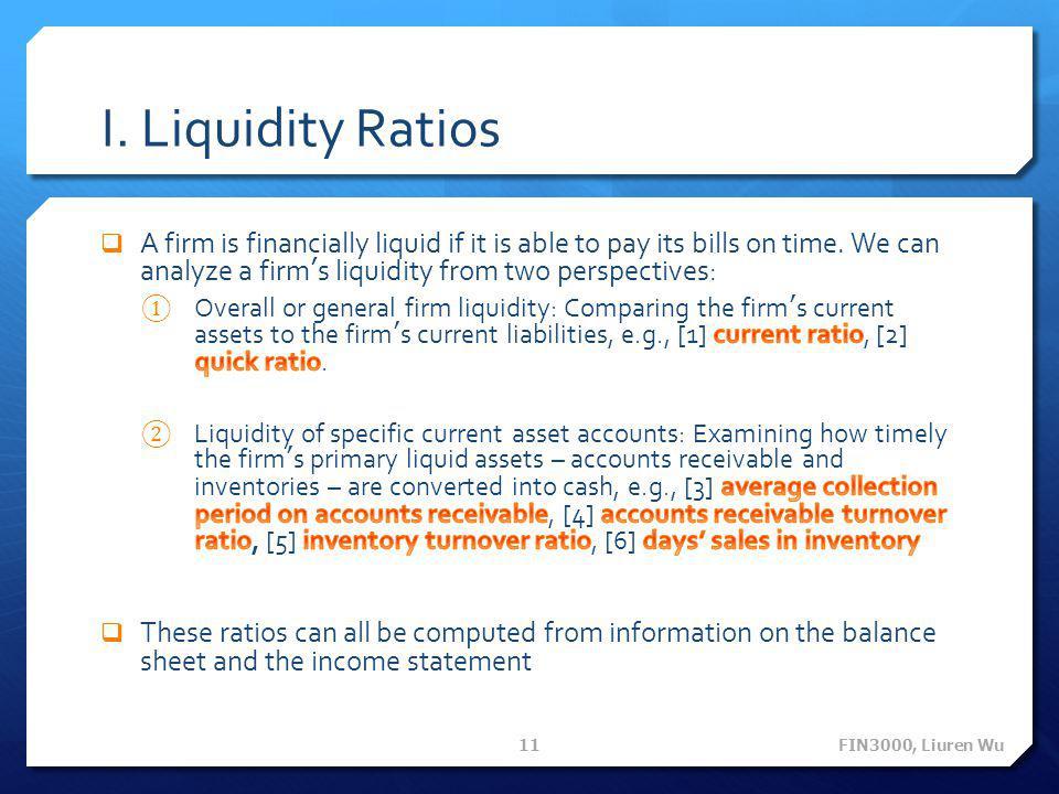 I. Liquidity Ratios FIN3000, Liuren Wu 11