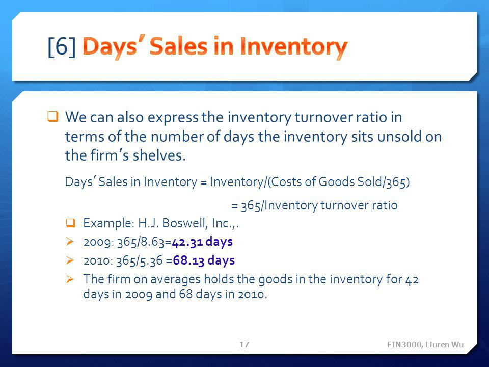  We can also express the inventory turnover ratio in terms of the number of days the inventory sits unsold on the firm's shelves. Days' Sales in Inve