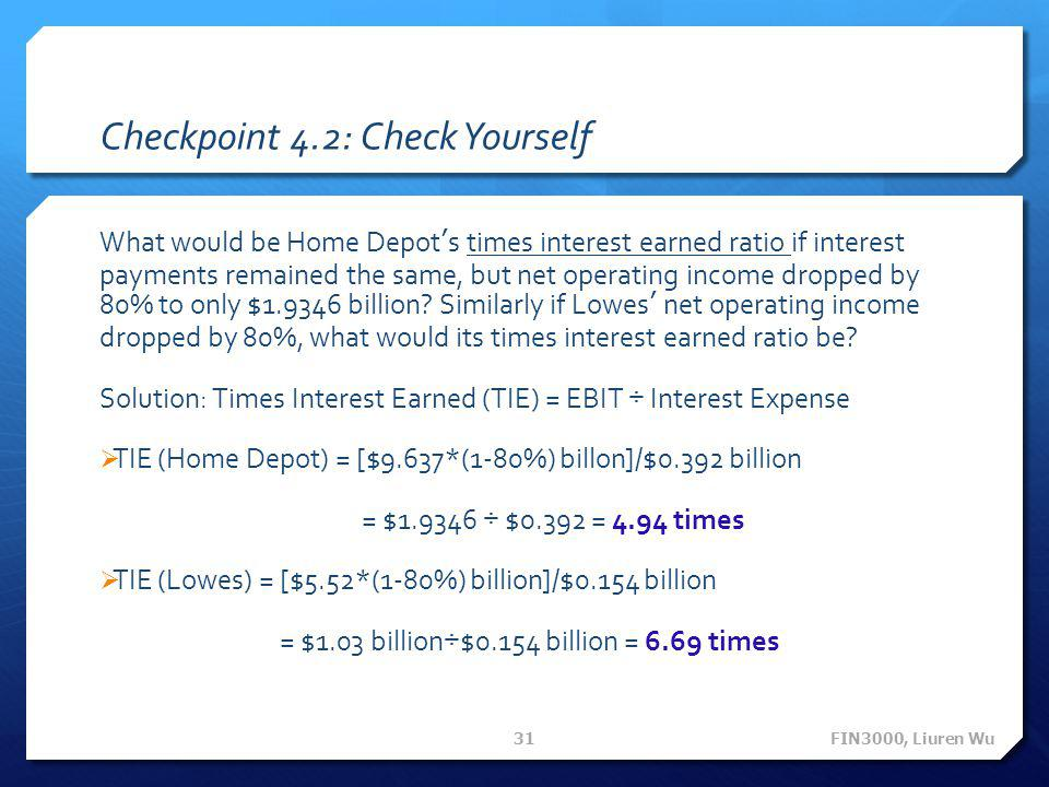 Checkpoint 4.2: Check Yourself What would be Home Depot's times interest earned ratio if interest payments remained the same, but net operating income