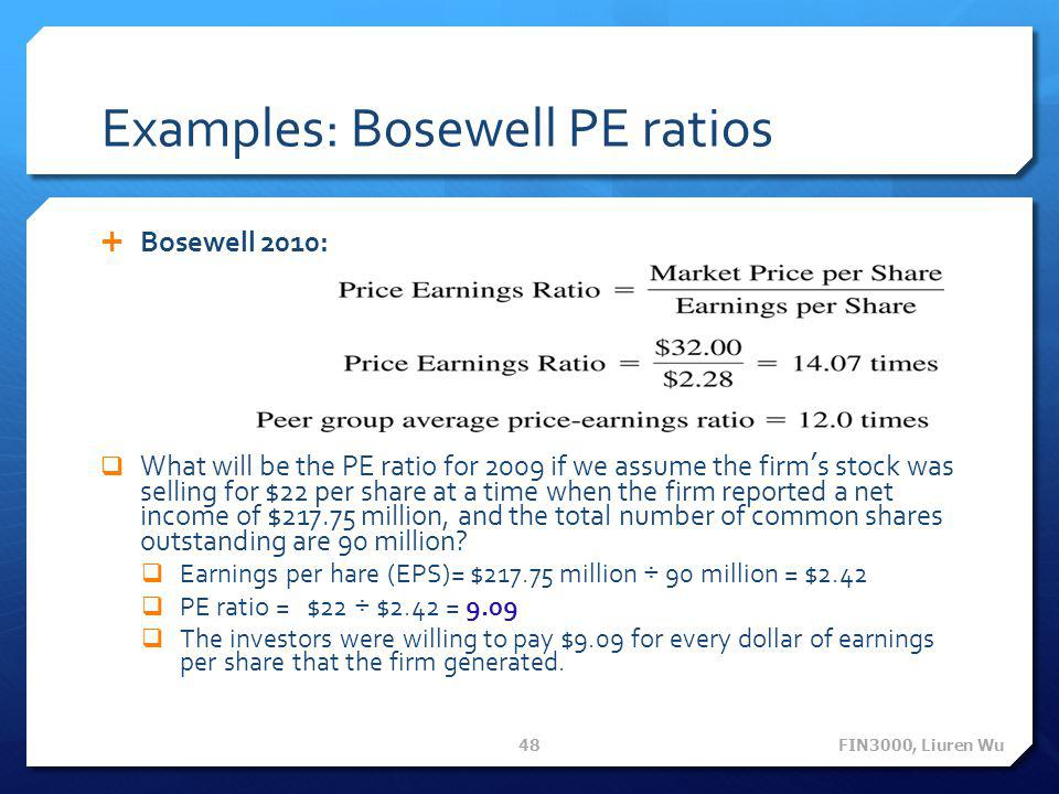 Examples: Bosewell PE ratios  Bosewell 2010:  What will be the PE ratio for 2009 if we assume the firm's stock was selling for $22 per share at a ti