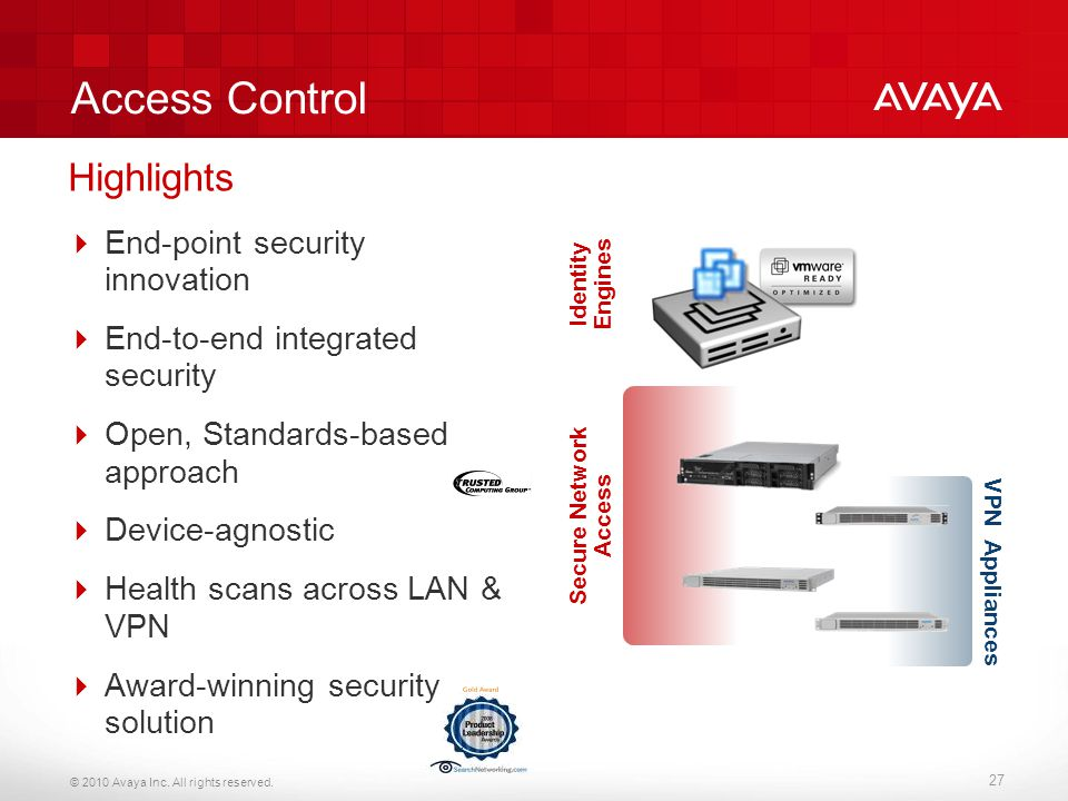 © 2010 Avaya Inc. All rights reserved. 27 Access Control  End-point security innovation  End-to-end integrated security  Open, Standards-based appr