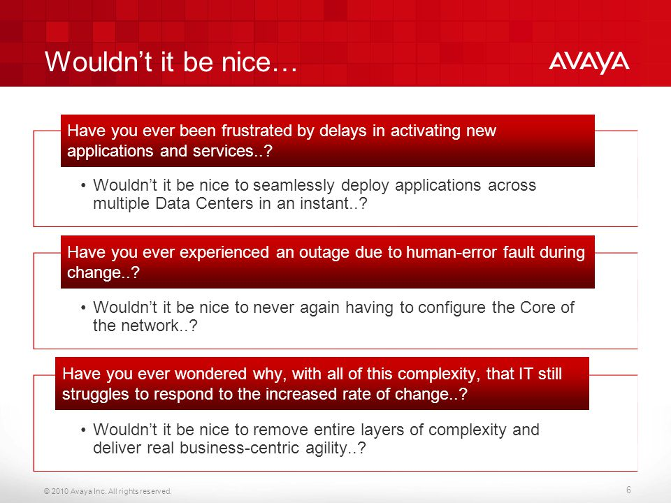 © 2010 Avaya Inc. All rights reserved. 6 Wouldn't it be nice… Wouldn't it be nice to seamlessly deploy applications across multiple Data Centers in an