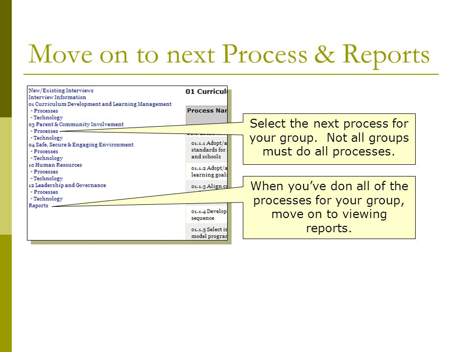 Move on to next Process & Reports Select the next process for your group.