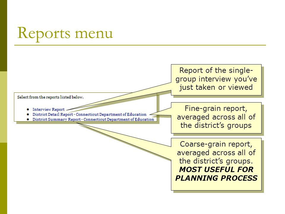 Reports menu Report of the single- group interview you've just taken or viewed Fine-grain report, averaged across all of the district's groups Coarse-grain report, averaged across all of the district's groups.