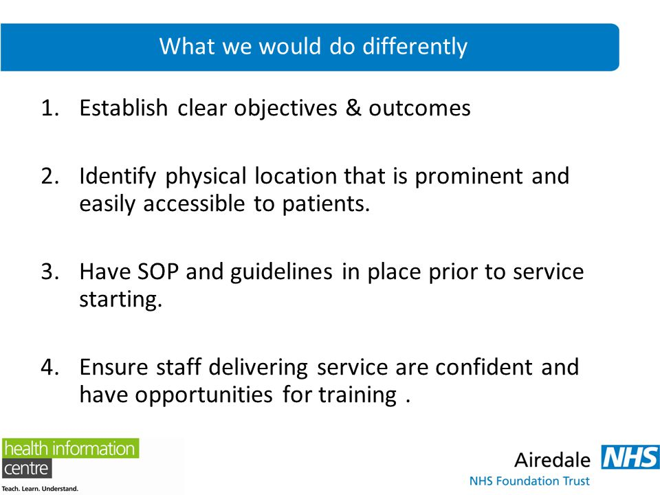 What we would do differently 1.Establish clear objectives & outcomes 2.Identify physical location that is prominent and easily accessible to patients.