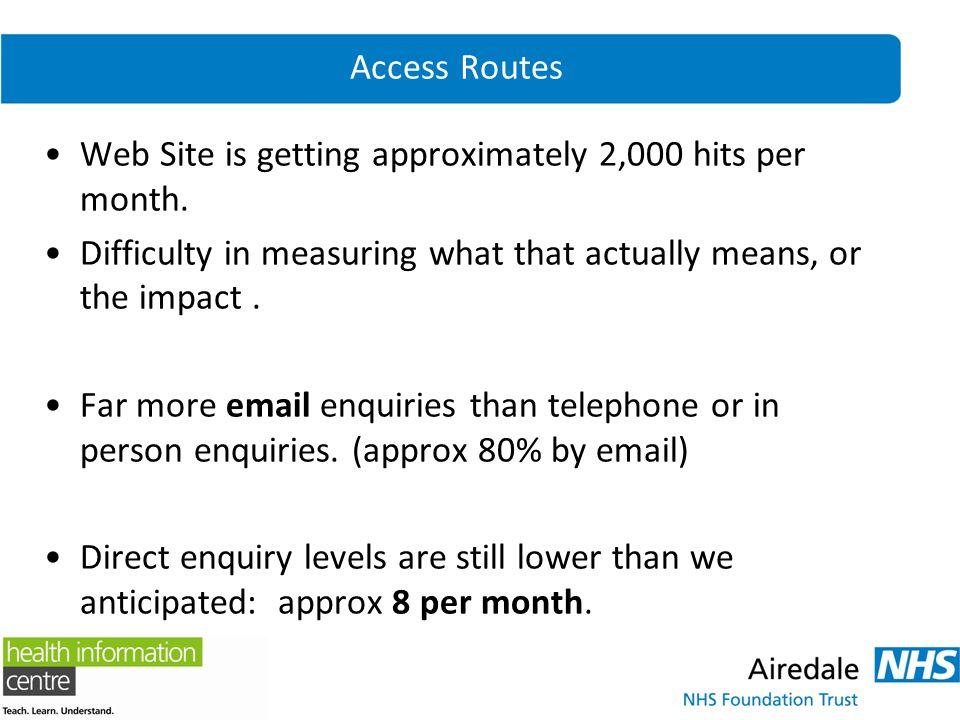 Access Routes Web Site is getting approximately 2,000 hits per month. Difficulty in measuring what that actually means, or the impact. Far more email