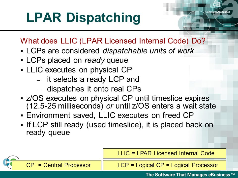 What does LLIC (LPAR Licensed Internal Code) Do?  LCPs are considered dispatchable units of work  LCPs placed on ready queue  LLIC executes on phys