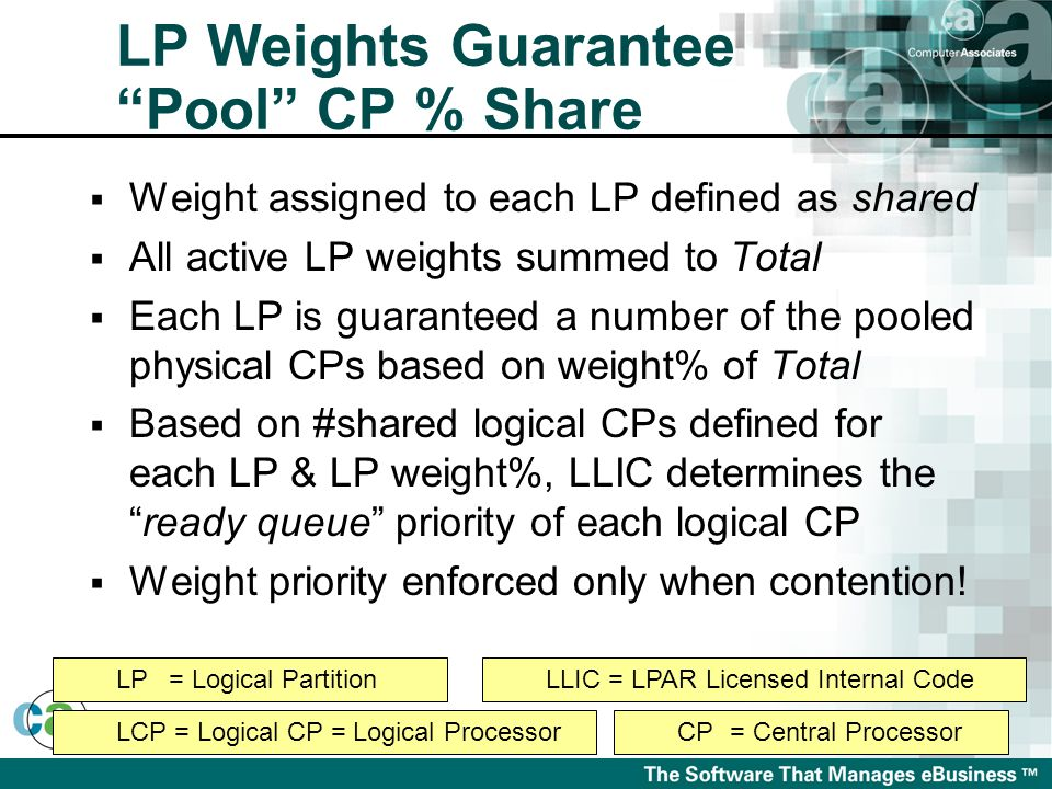  Weight assigned to each LP defined as shared  All active LP weights summed to Total  Each LP is guaranteed a number of the pooled physical CPs based on weight% of Total  Based on #shared logical CPs defined for each LP & LP weight%, LLIC determines the ready queue priority of each logical CP  Weight priority enforced only when contention.