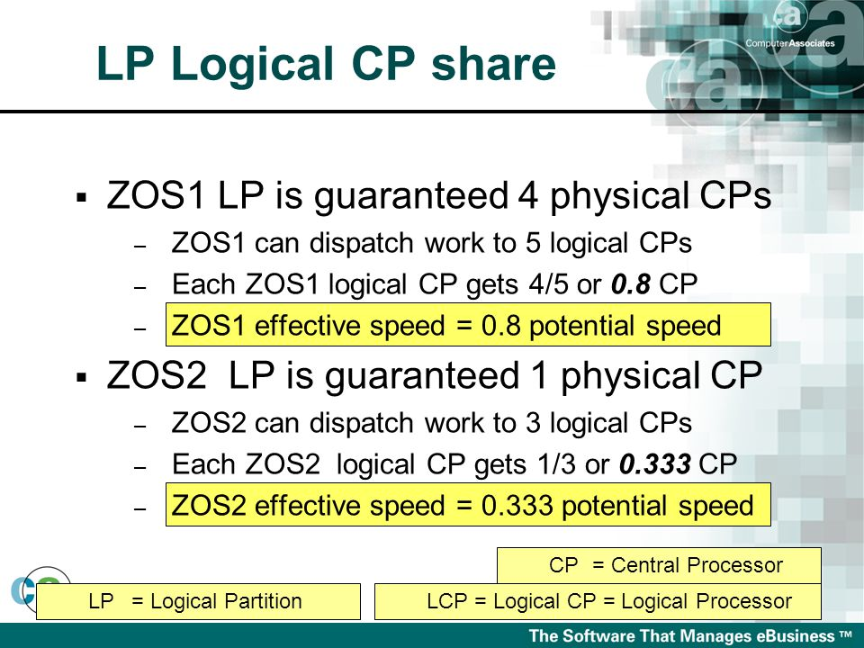 LP= Logical PartitionLCP = Logical CP = Logical Processor CP= Central Processor LP Logical CP share  ZOS1 LP is guaranteed 4 physical CPs – ZOS1 can dispatch work to 5 logical CPs – Each ZOS1 logical CP gets 4/5 or 0.8 CP – ZOS1 effective speed = 0.8 potential speed  ZOS2 LP is guaranteed 1 physical CP – ZOS2 can dispatch work to 3 logical CPs – Each ZOS2 logical CP gets 1/3 or 0.333 CP – ZOS2 effective speed = 0.333 potential speed