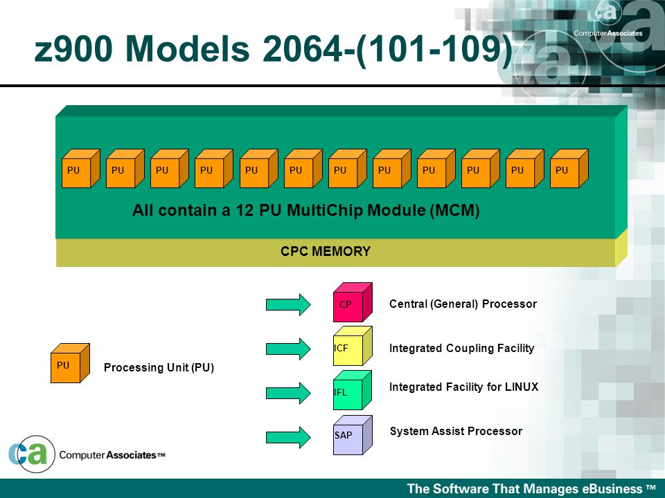 z900 Models 2064-(101-109) CP Processing Unit (PU) PU ICF IFL SAP Central (General) Processor Integrated Coupling Facility Integrated Facility for LINUX System Assist Processor CPC MEMORY All contain a 12 PU MultiChip Module (MCM) PU