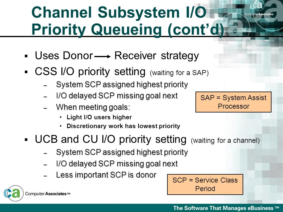  Uses Donor Receiver strategy  CSS I/O priority setting (waiting for a SAP) – System SCP assigned highest priority – I/O delayed SCP missing goal next – When meeting goals: Light I/O users higher Discretionary work has lowest priority  UCB and CU I/O priority setting (waiting for a channel) – System SCP assigned highest priority – I/O delayed SCP missing goal next – Less important SCP is donor SAP = System Assist Processor SCP = Service Class Period Channel Subsystem I/O Priority Queueing (cont'd)