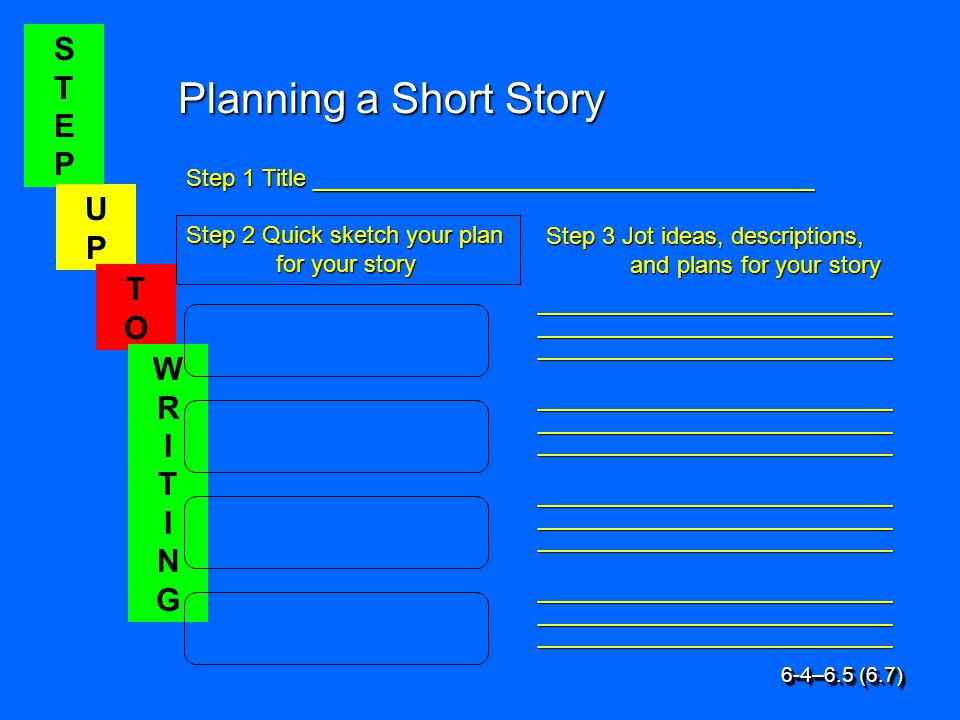 STEPSTEP UPUP TOTO WRITINGWRITING Planning a Short Story Step 1 Title ______________________________________ Step 2 Quick sketch your plan for your story Step 3 Jot ideas, descriptions, and plans for your story __________________________________ __________________________________ __________________________________ 6-4–6.5 (6.7)